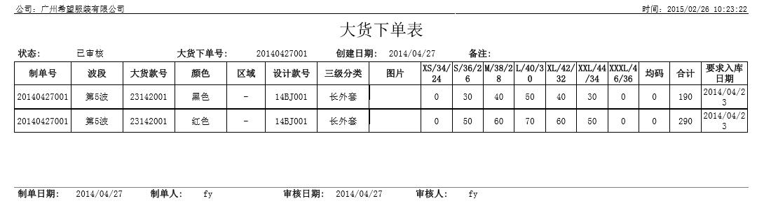 大货下单表,丰捷SCM商品管理,服装供应链管理系统,丰捷软件,广州丰捷企业管理服务有限公司